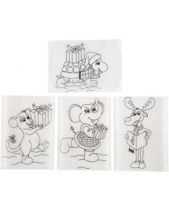 Shrink Plastic Sheets with motives, 10,5x14,5 cm, matt transparent, 36 sheet/ 1 pack