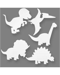 Dinosaur, H: 15-22 cm, W: 24-25 cm, 230 g, white, 16 pc/ 1 pack