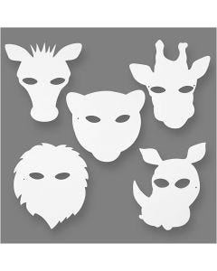 Jungle Animal Masks, H: 22,5-25 cm, W: 20,5-22,5 cm, 230 g, white, 16 pc/ 1 pack