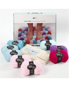 DIY Yarn Kit - Pompoms for Decoration, moss green, 1 set/ 1 box