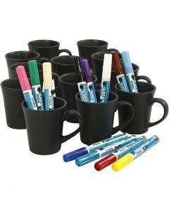 Black mugs painting, assorted colours, 1 set, 36 pc