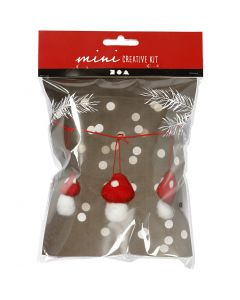 Creative mini kit, hanging toadstools on a string, H: 5.5 cm, 1 set