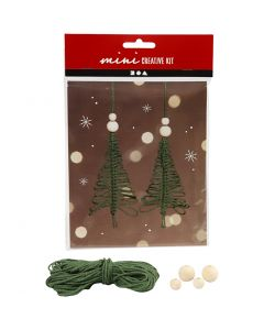 Creative mini kit, macramé Christmas tree, H: 11 cm, 2 pc/ 1 set