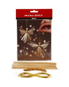 Creative mini kit, straw angel, H: 8 cm, 1 set