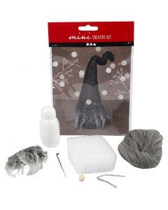 Creative mini kit, Christmas gnome, H: 13 cm, grey mixture, 1 pc/ 1 set