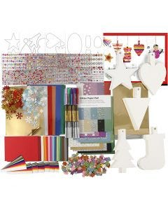 Christmas Decoration Kit, assorted colours, 1 set