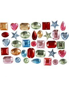 Rhinestones, size 15-17 mm, assorted colours, 15 g/ 1 pack