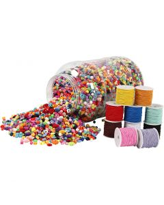 Bucket of Plastic Beads & Elastic Cords, 1 set