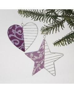 Wooden hearts & stars ornaments