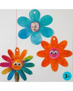 Glitter Paint and Wiggle Eyes on Card Flowers