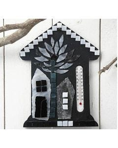 Thermometer house with glass mosaic tiles