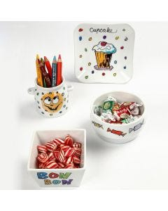 Markers with Glitter on Porcelain