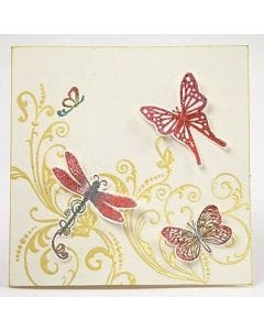 A Card with Heat Embossed Stamp Printing