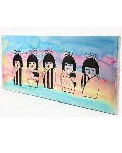 A Painting with Japanese Kokeshi Dolls