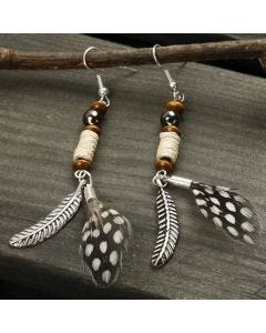 Earrings with Feathers and Beads