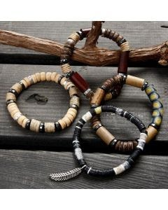 An Elastic Beading Cord Bracelet with Beads