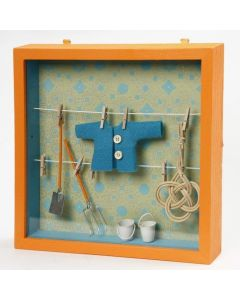 A Framed Box with Clothes Lines