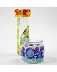 Glass decorated with colourful Mini Mosaic