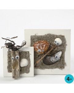 A Collage Frame with a Beach Motif made from Glue Lacquer & Sand