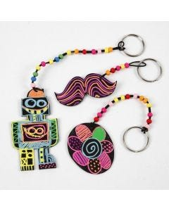 Keyring Fobs made from Shrink Plastic Sheets and neon Markers