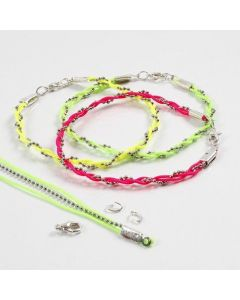 A Bracelet made from a Bead Chain and Neon-Coloured Macramé Cords