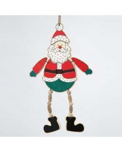 A Wooden Father Christmas Hanging Decoration