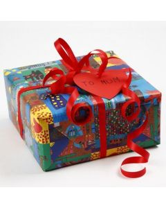 Gift Wrapping using Wrapping Paper with Handmade Drawings