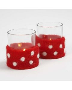 A Candle Holder with a Needle Felted Waist Band