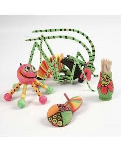 Wooden Items coloured in Neon Colours