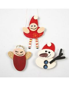 Christmas Figures made from painted Wood Mosaic Shapes