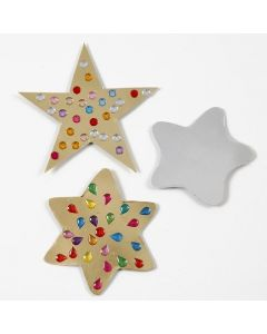 Gold & silver Metallic Foil Card Stars decorated with Rhinestones