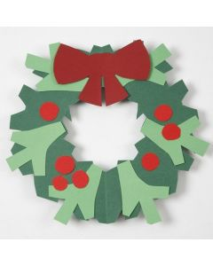 A Holly Wreath with a Bow made from Card