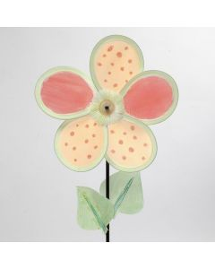 A decorated Flower Windmill with Nylon Petals