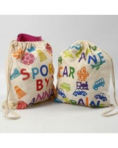 A Shoe Bag with stamped Designs and Text