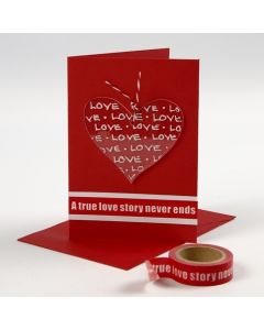 A Valentine Card with a decorated Plexiglass Heart