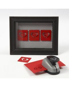 Card Hearts in a 3D Frame with a Glass Front