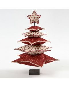 A Christmas Tree made from Felt Stars on a Metal Bar with a Stand