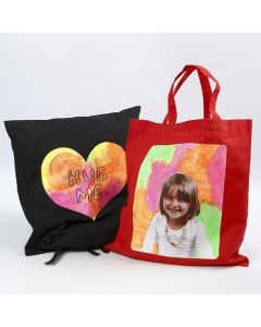 A Cushion and a Shopping Bag with Transfer Print