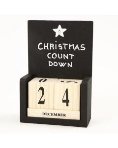 A wooden Desktop Calendar painted with black Blackboard Paint