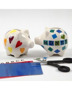 Designs and Letters on a Porcelain Piggy Bank