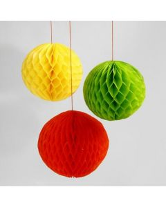 Baubles made from coloured Honeycomb Paper