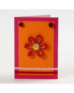 A Greeting Card with a Flower and decorative Paper Quilling