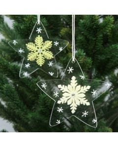 Acrylic Stars, decorated with Felt Snowflakes and Graphics
