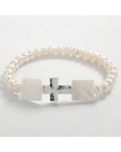 An Elastic Bracelet with white Beads and a Cross
