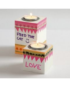 Wooden Tea Light Candle Holders, painted with Blackboard Paint