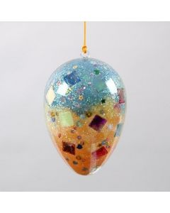 A two-part transparent Acrylic Egg with Sequins & Glitter inside
