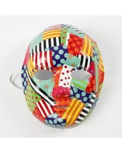 Decoupage with patterned glazed Paper on a Mask