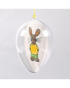 A transparent Egg with a decorated Piece of Card inside