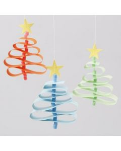 Christmas Trees from Paper Star Strips & Nabbi Bead Tree Trunks