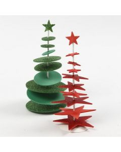A punched-out Foam Rubber Christmas Tree on a Bar with a Stand